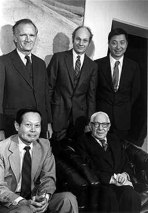 Isidor Isaac Rabi - Rabi (seated, right) with fellow Nobel Prize laureates (standing left to right) Val Fitch, James Cronin, Samuel Chao Chung Ting and Chen-Ning Yang (seated, left)
