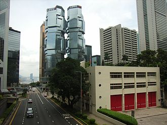 Cotton Tree Drive - The north of Cotton Tree Drive. Central Fire Station and Lippo Centre are visible.