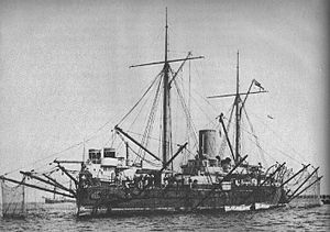 HMS Hotspur (1870) - Hotspur with her anti-torpedo net deployed.