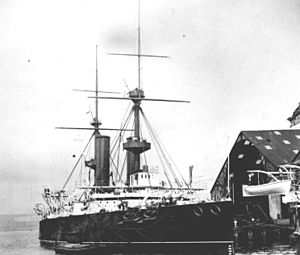 HMS Repulse (1892) - Repulse at anchor in Portsmouth Dockyard, 1893