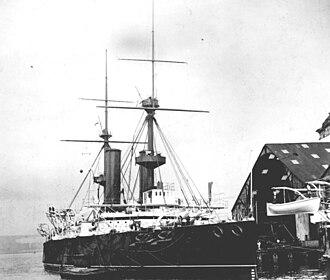HMS Repulse (1892) - Repulse at anchor in Portsmouth Dockyard, 1893