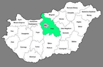 Central Hungary - Location of Central Hungary region within Hungary
