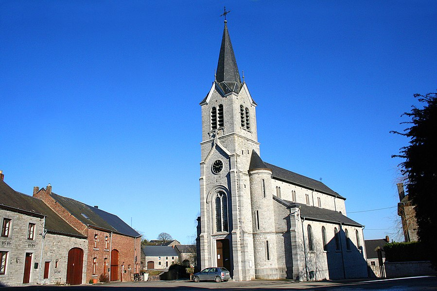 Halma   (Belgium),  the neighbourhood of  the St. Remaclus'church (1868).