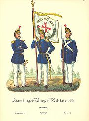 A drawing of three soldiers in colorful uniforms. One soldiers holds a flag.