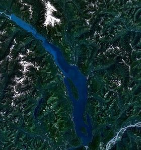 Vue satellite du lac Harrison