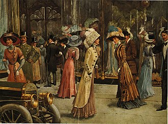 Harrods - Fashion plate of 1909 shows wealthy Londoners walking in front of Harrods
