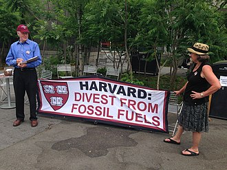 Fossil fuel divestment - People on the Harvard campus seeking signatures for Harvard divestment from fossil fuels, May 2015