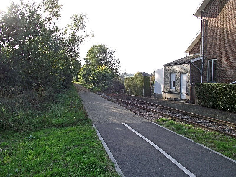 Old SNCB railway line 126 converted into a bikeway (Ravel). Here at Havelage station. A piece of track is left in place.