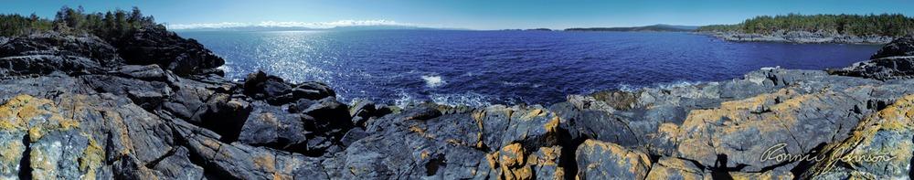 Panorama of Heath Islet off Lasqueti Island.
