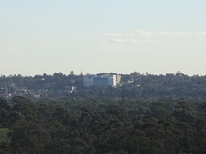 Heidelberg, Victoria - Austin Hospital dominates the Heidelberg skyline (as viewed from Westerfolds Park)