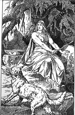 Hel (being) - Hel (1889) by Johannes Gehrts, pictured with her hound Garmr
