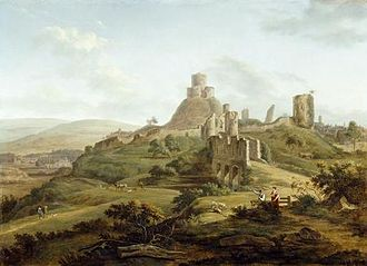 Launceston Castle - Hendrick de Cort's pastoral depiction of the castle in the late-18th century; note the fortified bridge (centre) and the Watch Tower (right), later destroyed
