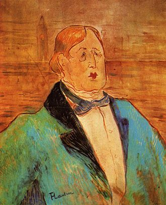 1895 in literature - Toulouse-Lautrec's portrait of Oscar Wilde on the night before his trial opens