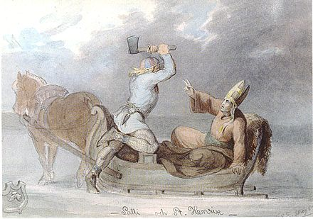 Lalli killing Henry. A romanticized drawing from the 19th century. Henrik Lalli Ekman.JPG