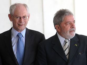 Brazil–European Union relations - President of the European Council Herman Van Rompuy (left) with President of Brazil Luiz Inácio Lula da Silva (right)