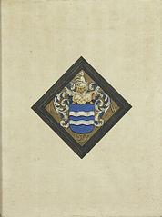 Het wapen van de familie de Witte, naar een ruitvormig rouwbord met de initialen I W aan weerskanten van het schild en het jaartal 1590
