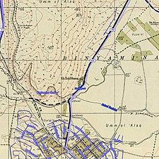 Historische Kartenserie für das Gebiet von Khirbat al-Shuna (1940er Jahre mit moderner Überlagerung) .jpg