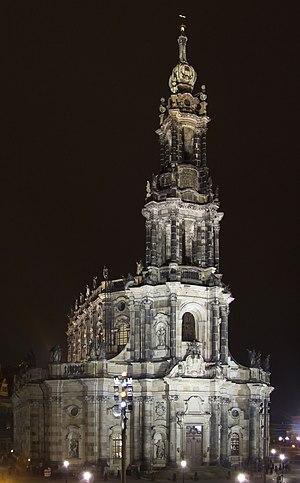 Hofkirche in Dresden by night