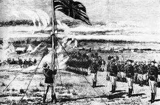 Pioneer Column - Image: Hoisting the flag at Fort Salisbury