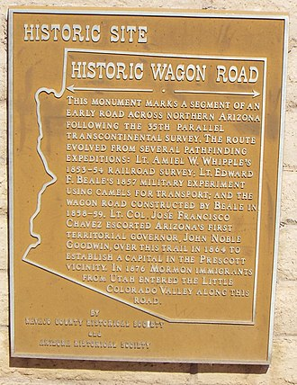 Beale's Wagon Road - Wagon Road Marker in Holbrook, Arizona
