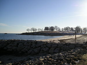 East Lyme, Connecticut - Hole-in-the-Wall Beach in Niantic, looking west towards McCook Point