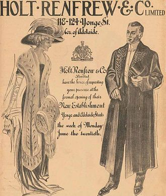 Holt Renfrew - Holt Renfrew newspaper advertisement announces its new Toronto store in The Globe, June 20, 1910.