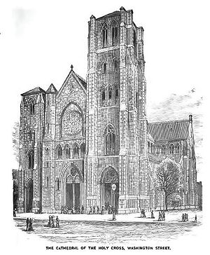 Cathedral of the Holy Cross (Boston) - Cathedral of the Holy Cross as it appeared c. 1881