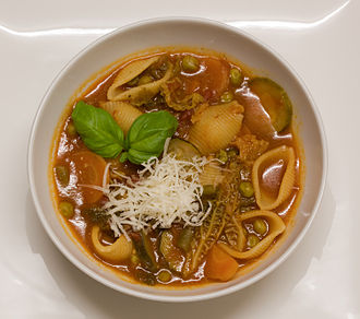 Minestrone - Homemade minestrone in a bowl