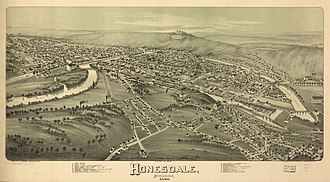 Honesdale, Pennsylvania - 1890 panoramic map of Honesdale