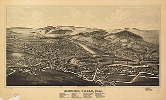 Hoosick Falls, New York - Perspective map of Hoosick Falls from 1889 by L.R. Burleigh with a list of landmarks