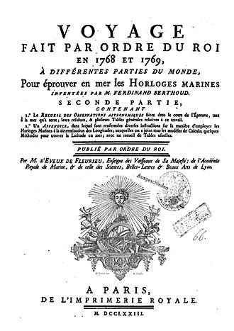 Ferdinand Berthoud - Image: Horloge Berthoud, Voyage fait par ordre de Louis XV, 1768 1769