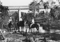 Horse riders by the railway bridge which crosses the Wide Bay Creek near Woolooga Station Queensland, circa 1912.tiff