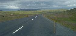 La Hringvegur a su paso por Borgarfjörður