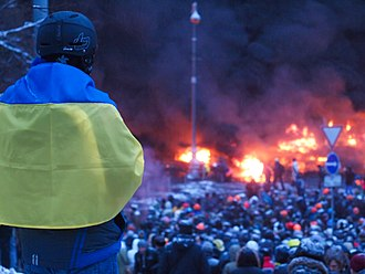 2014 in Europe - Violent clashes between protesters and police on Hrushevskoho Street, Kiev