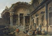Hubert Robert - Interior of the Temple of Diana at Nîmes.jpg