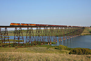 Sheyenne River - A BNSF Railway freight train crosses the Sheyenne near Karnak, North Dakota in 2009.