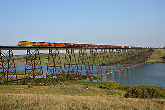 Sheyenne River - A BNSF Railway freight train crosses the Sheyenne near Karnak in 2009.