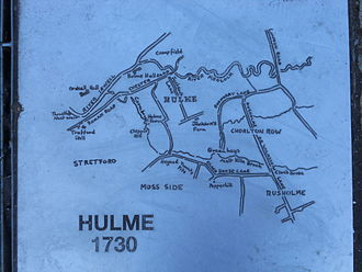 Hulme - Hulme map 1730, reproduced in A Hulme People's History in Hulme Park
