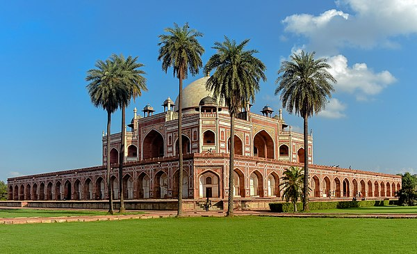 Humayun's Tomb in Delhi, India, was commissioned by his chief wife, Bega Begum Humayun's Tomb, Delhi, India 2019.jpg
