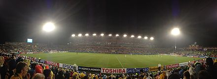 Hunter Stadium during the 2015 AFC Asian Cup semi-final between Australia and the UAE. Hunter Stadium Night.JPG