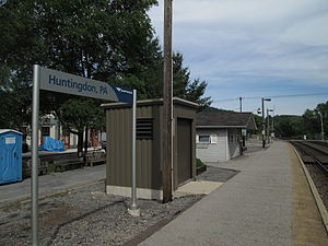 Huntingdon station (Amtrak) - The current station platform for Amtrak's Pennsylvanian, seen in June 2013