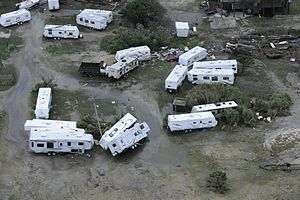 Hurricane Arthur - Overturned mobile homes in North Carolina damaged by Arthur's high winds