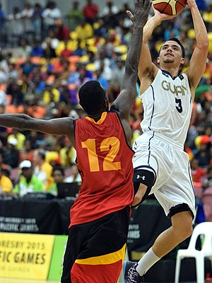 2015 Pacific Games - Kyle Husslein playing basketball for Guam at the 2015 Pacific Games