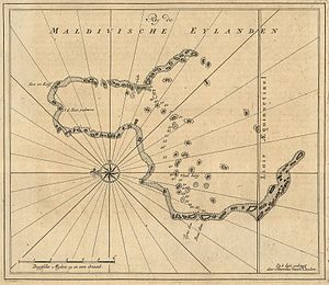 Huvadhu Atoll - 1753 Van Keulen Map of Huvadu Atoll (inaccurate)