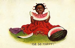 "Watermelon stereotype - A 1909 postcard, bearing the caption ""I'se so happy!"""