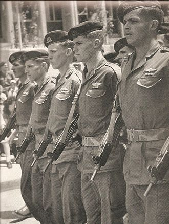 Israel Defense Forces parade - Israeli soldiers armed with Uzis at Independence Day, 1958