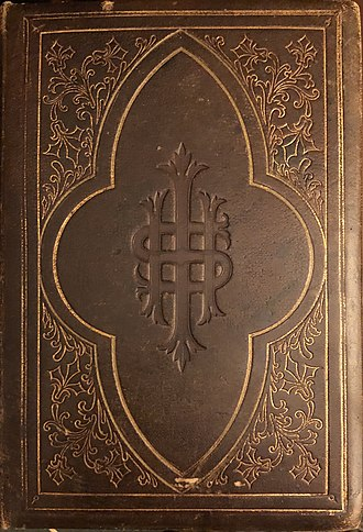 IHS Christogram embossed on an 1864 leather-bound King James Bible IHS Christogram 1864 Bible.jpg