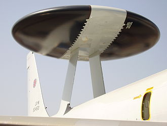 Boeing E-3 Sentry - Close-up view of the radar, which revolves at six revolutions per minute.