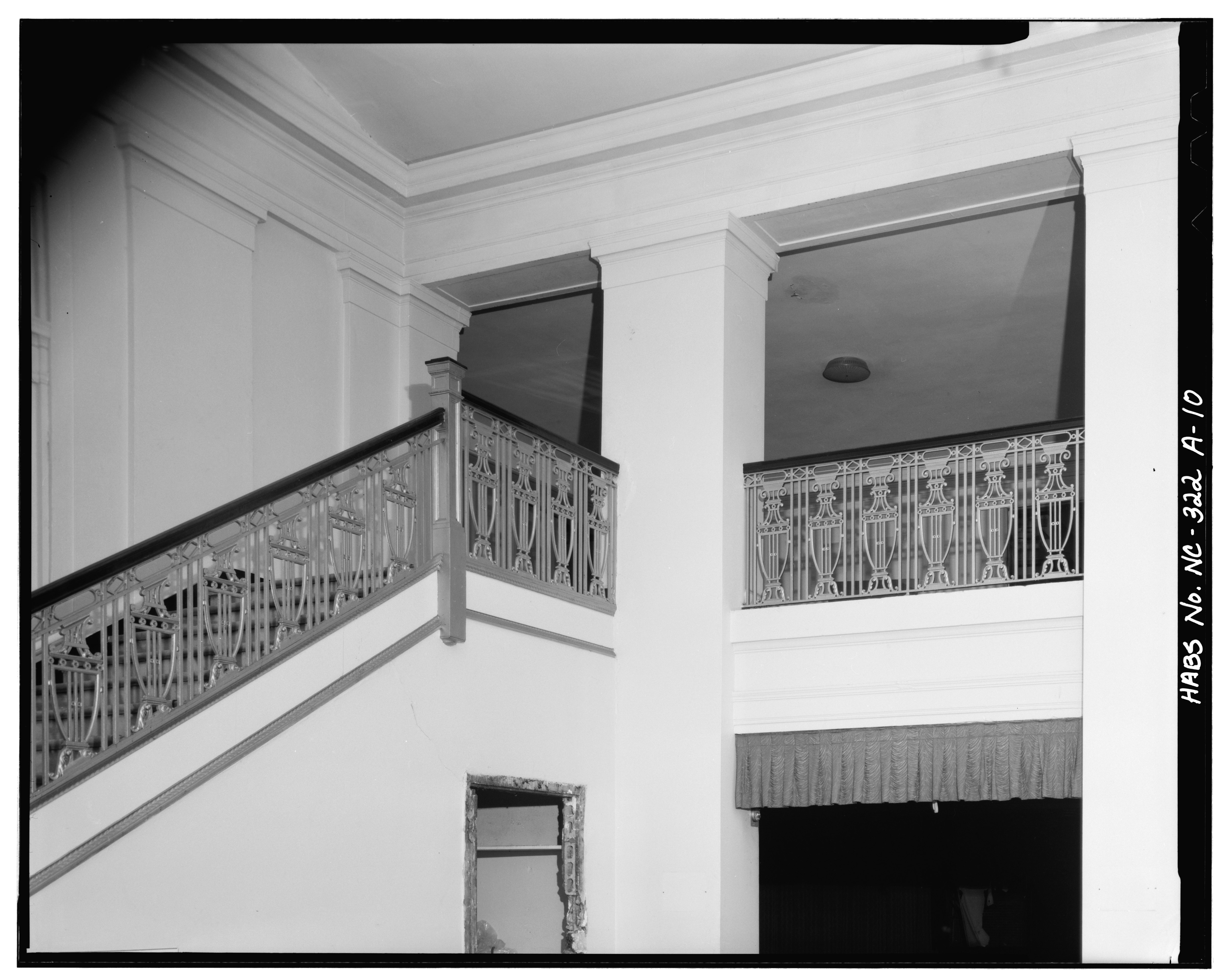 file interior stair column and balcony rail theater statesville commercial historic. Black Bedroom Furniture Sets. Home Design Ideas