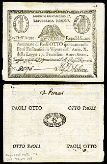 An eight-paoli Roman Republic assignat (1798).